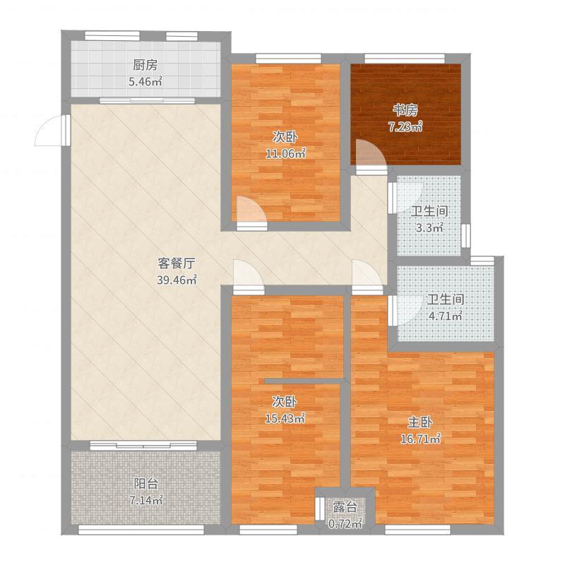5幢D1房型户型图