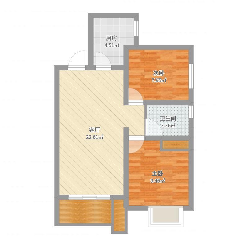 康城・瑞河兰乔91平米两室一厅一卫户型图