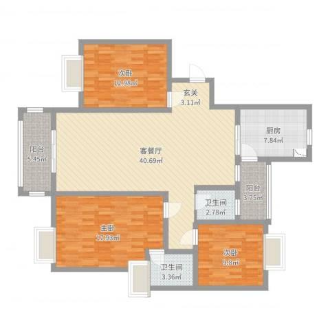 大唐金城3室2厅2卫1厨131.00㎡户型图