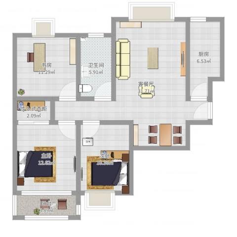 万宁城市景苑3室2厅1卫1厨105.00㎡户型图