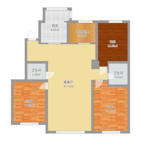 浦新教师公寓3室2厅2卫1厨143.00㎡户型图