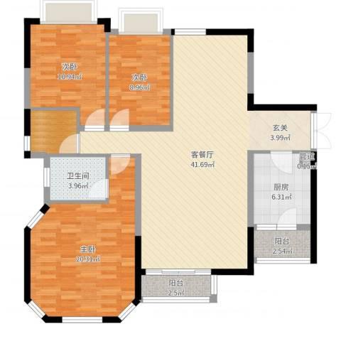 金碧花苑3室2厅1卫1厨126.00㎡户型图
