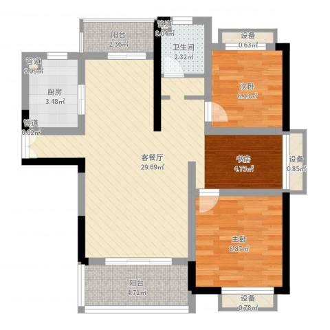 枫庐新天地2室2厅1卫1厨75.00㎡户型图