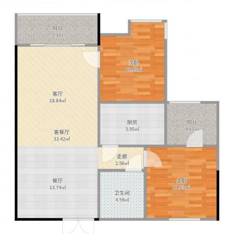 美荔尚筑2室2厅1卫1厨94.00㎡户型图