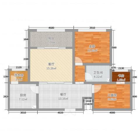 天一海尚阳光3室2厅1卫1厨93.00㎡户型图