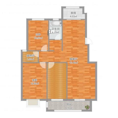 皇山华府2室2厅1卫1厨126.00㎡户型图