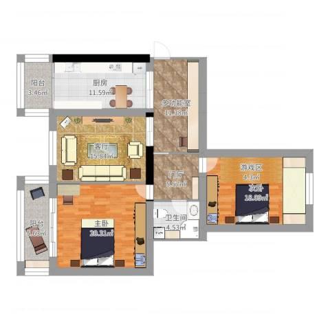 新里海德公馆2室1厅1卫1厨120.00㎡户型图