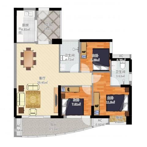 晟大海湾城3室1厅2卫1厨108.00㎡户型图