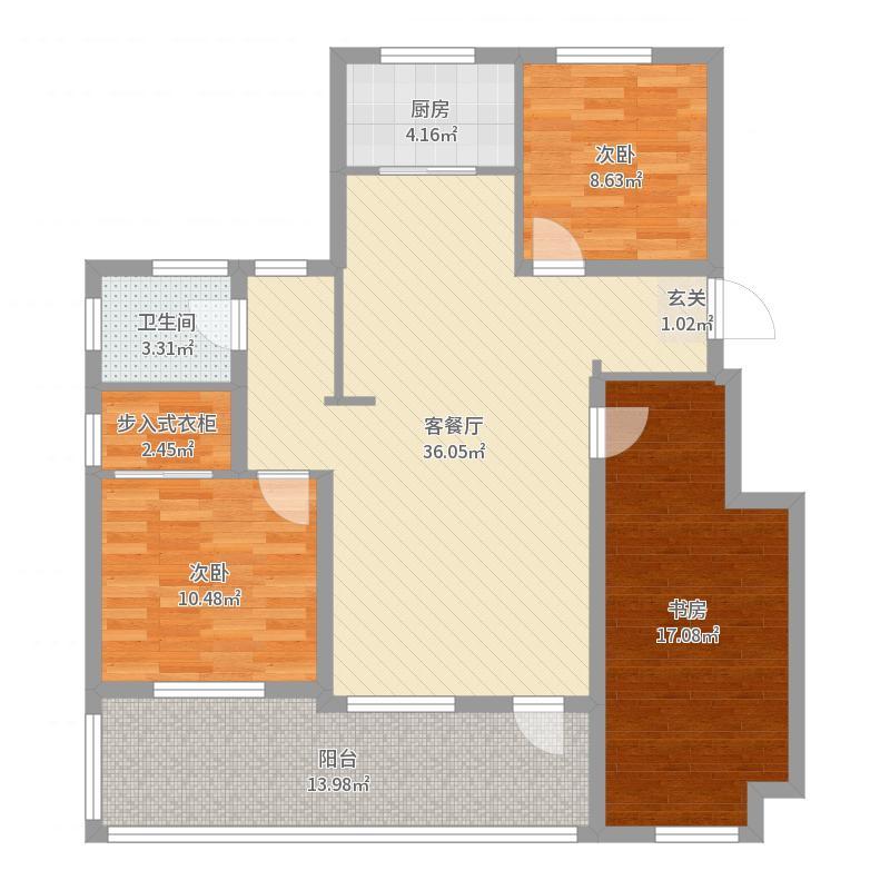 金地檀境104.00㎡8号楼B-7户型3室3厅1卫1厨-副本户型图