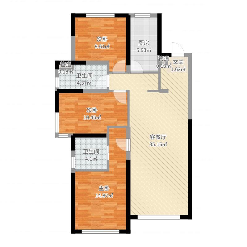 旭辉锦堂106.00㎡高层户型3室3厅2卫1厨-副本户型图