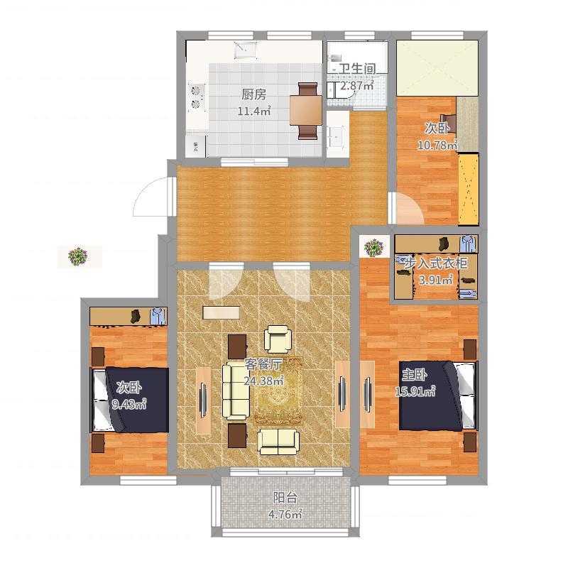 122方现代三居-副本户型图