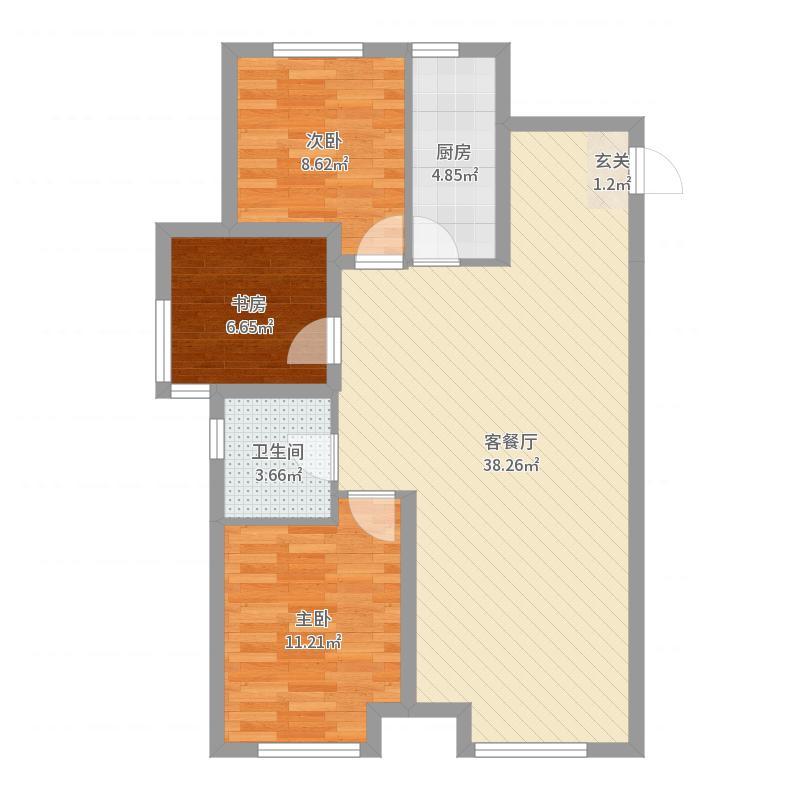 金地檀境104.00㎡39号楼D-1户型3室3厅1卫1厨-副本户型图