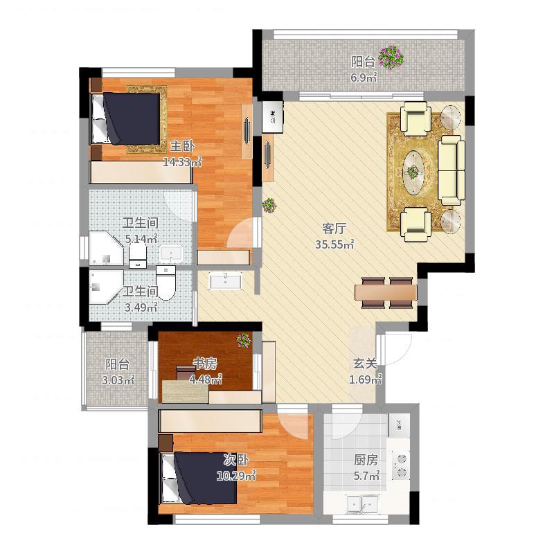 骋望云邸110.00㎡一期1-12#标准层C户型3室3厅2卫1厨-副本户型图