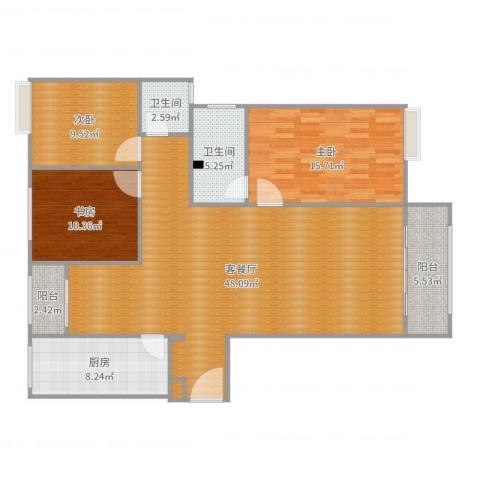三星凤凰府3-2-16033室2厅2卫1厨135.00㎡户型图