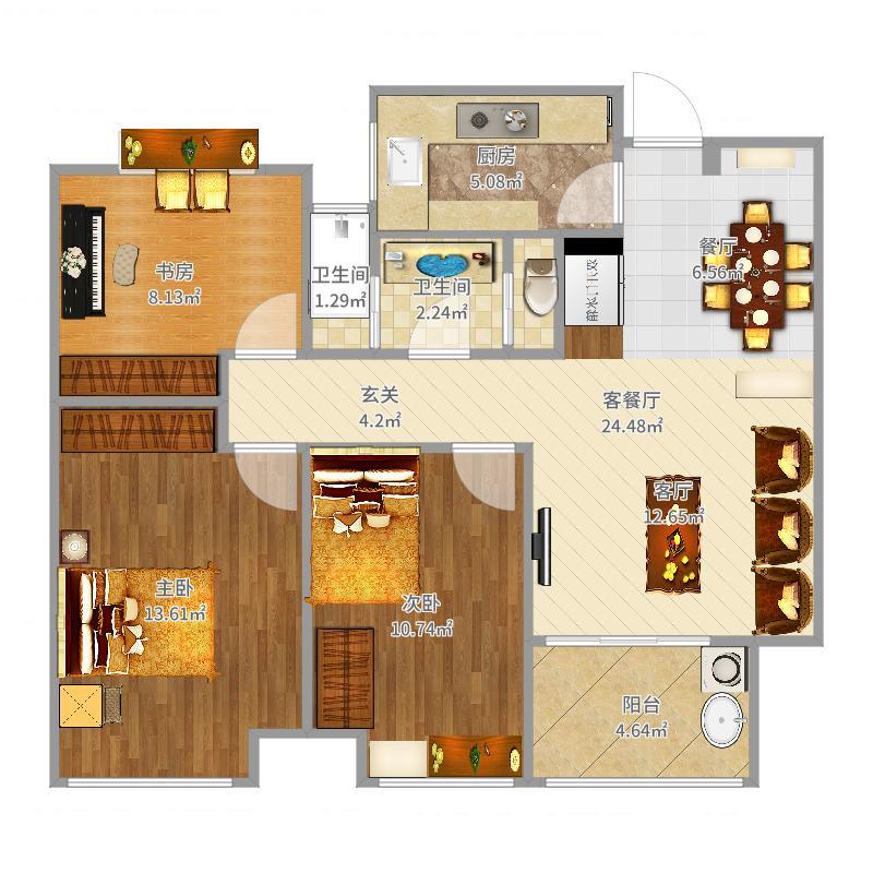 复地宴南都-现代小三房户型图