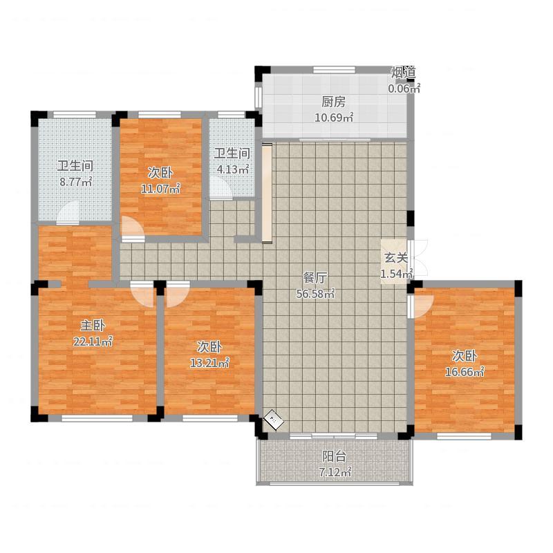 苏宁钟山朝阳府188.00㎡二期23、24幢洋房标准层C1户型4室4厅2卫1厨-副本户型图