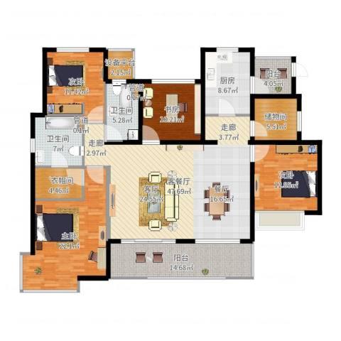富力十号4室2厅2卫1厨195.00㎡户型图