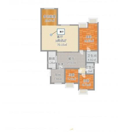 约克郡上林洋房3室2厅2卫1厨157.00㎡户型图