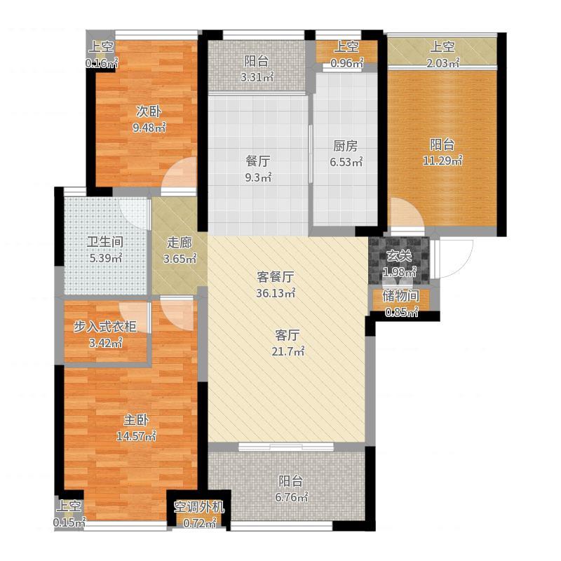 绿地太湖城117.00㎡C户型2室2厅1卫-副本户型图