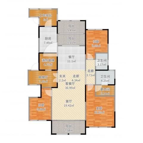 金融世家3室2厅2卫1厨161.00㎡户型图