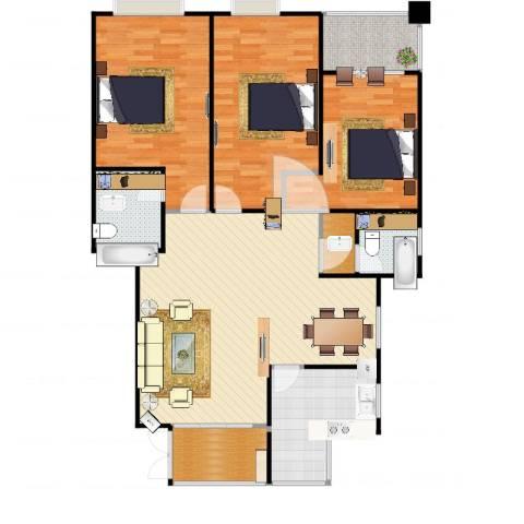 帝壹城3室1厅2卫1厨134.00㎡户型图