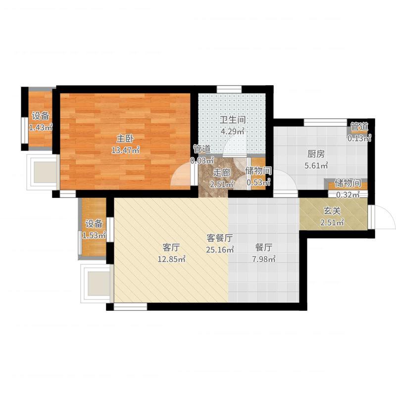 路劲太阳城73.00㎡清霖园1、3号楼标准层03户型户型图