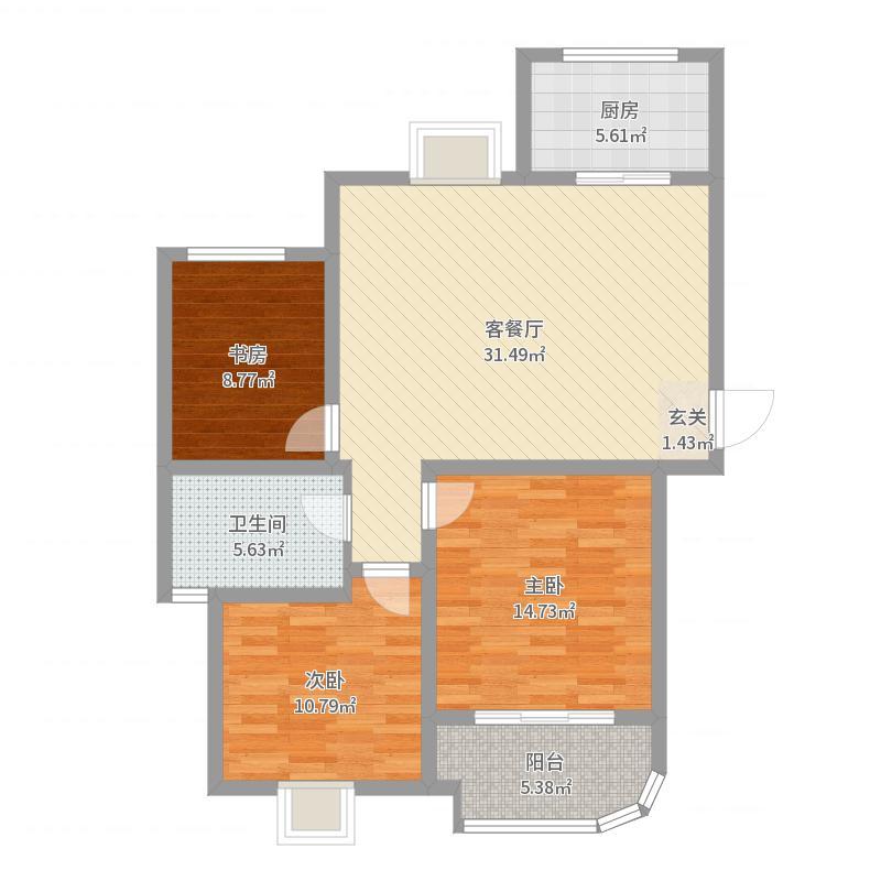 云龙华府103.00㎡一期B2号楼中间户L3户型3室3厅1卫1厨户型图