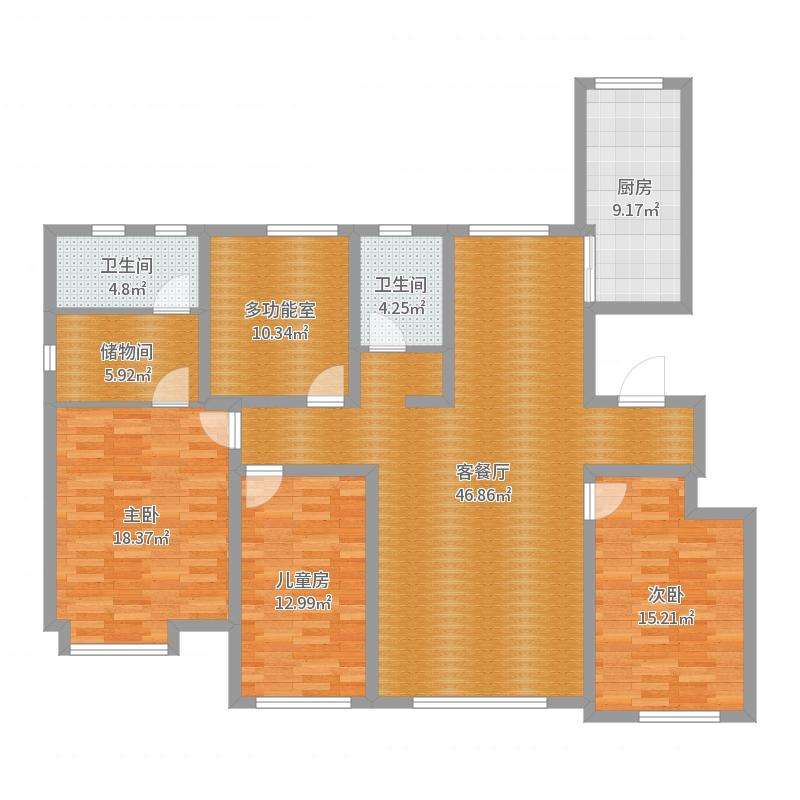 港西新城160平C1户型4室2厅2卫户型图