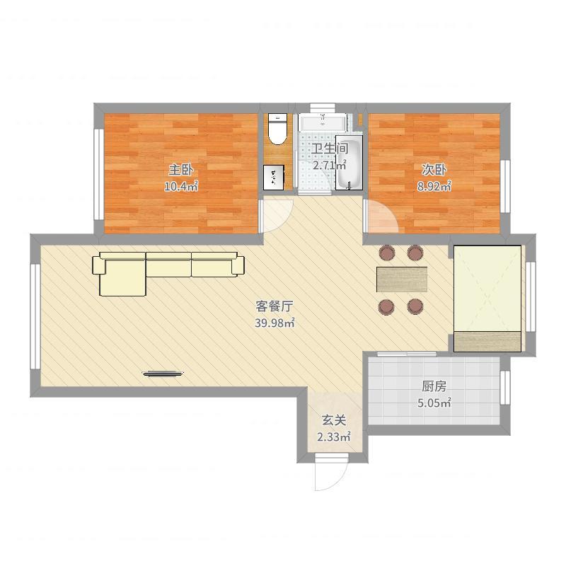 富虹太子城105.77㎡D1'户型2室2厅1卫-副本-副本户型图