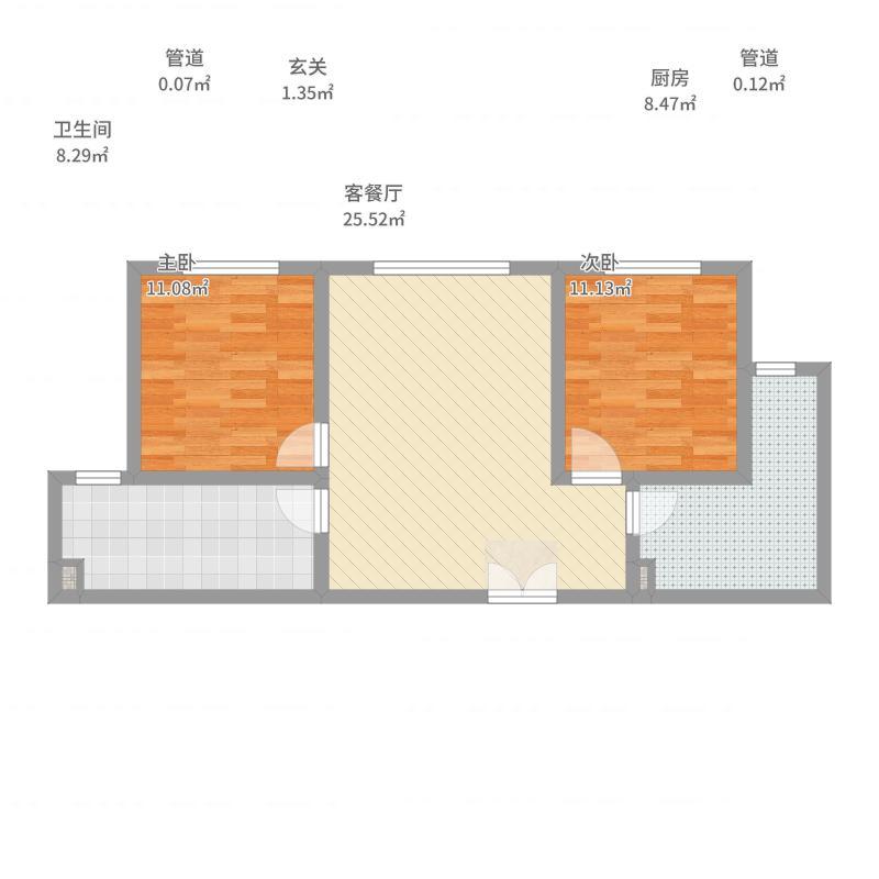 爱达・8898.43㎡二梯三户B户型2室2厅1卫1厨-副本户型图