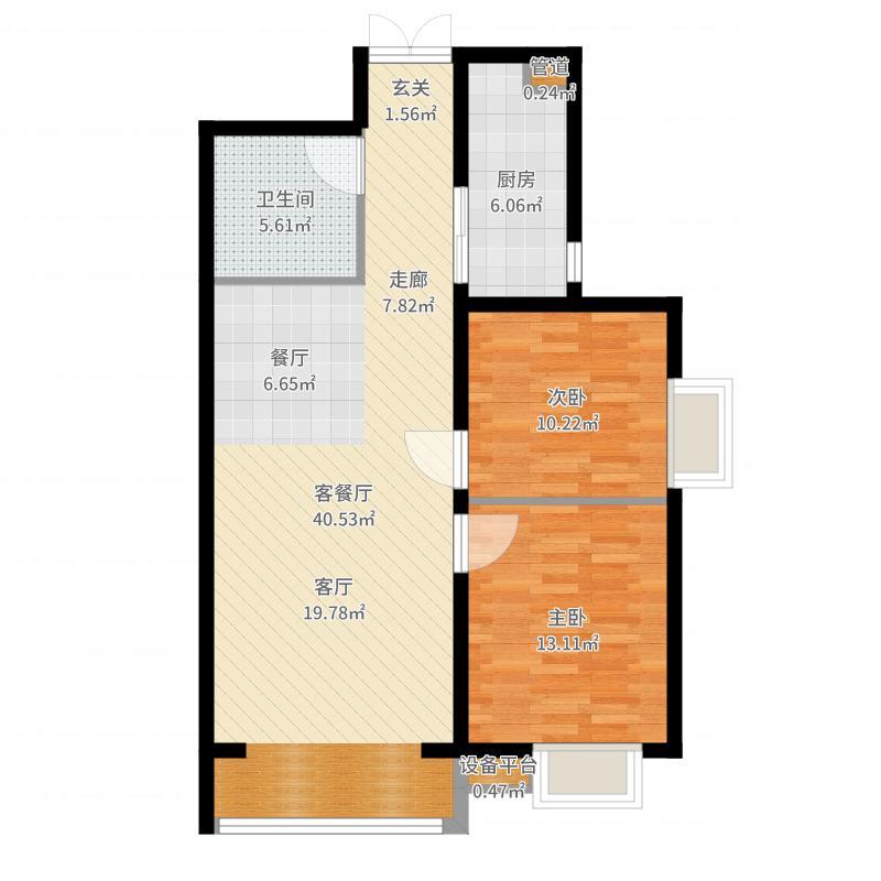 瑞城88.07㎡瑞城户型图D5-B户型2室2厅1卫1厨户型2室2厅1卫1厨-副本户型图