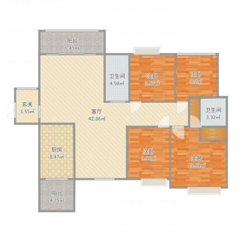 中港世纪嘉城4室1厅2卫1厨148.00㎡户型图