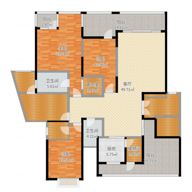 国奥村170.00㎡F三位三阳台户型10室户型图