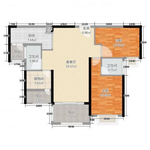 雅居乐花园2室2厅2卫1厨123.00㎡户型图