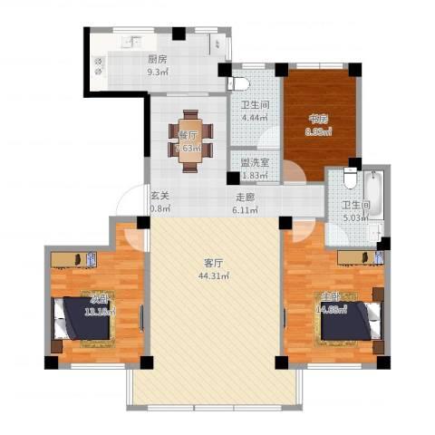 盛世华府3室3厅2卫1厨127.00㎡户型图