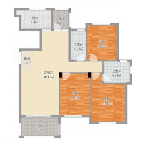 南岸花园东区3室2厅2卫1厨138.00㎡户型图