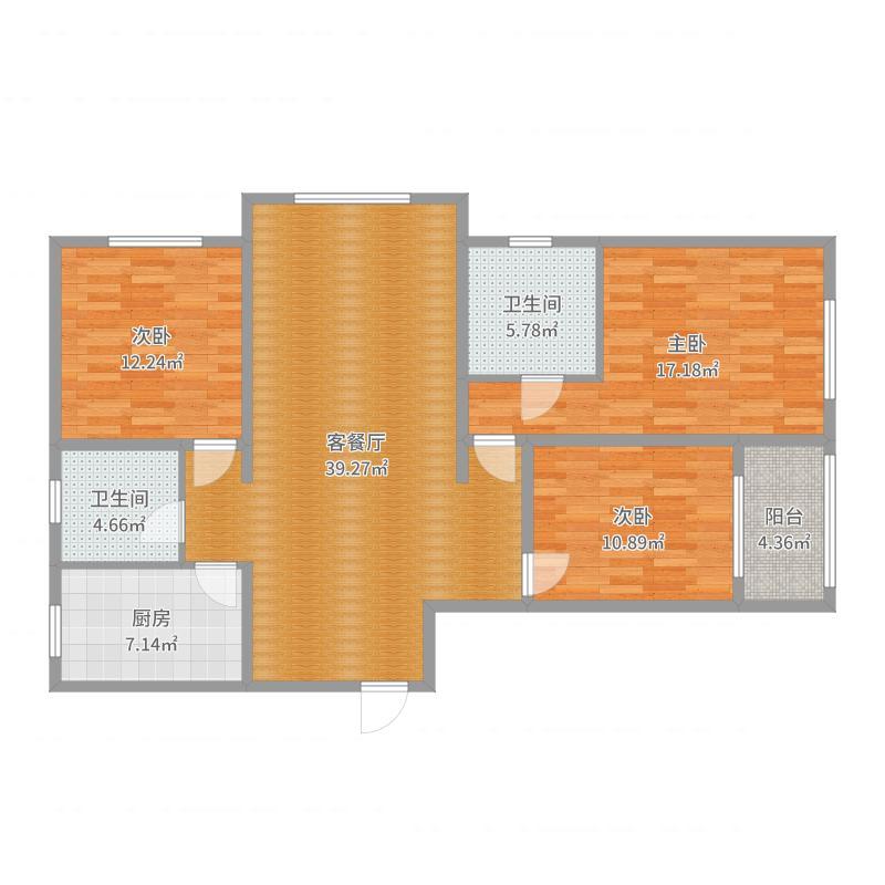 河北秦皇岛市偏颇新村三居室设计户型图