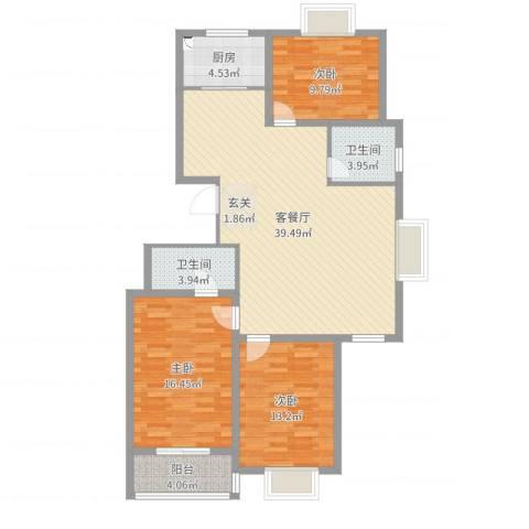 天华・领秀城3室2厅2卫1厨119.00㎡户型图