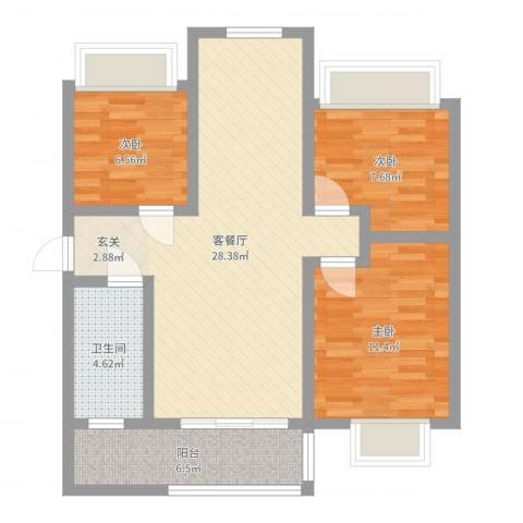 乾基九境城3室2厅1卫0厨81.00㎡户型图