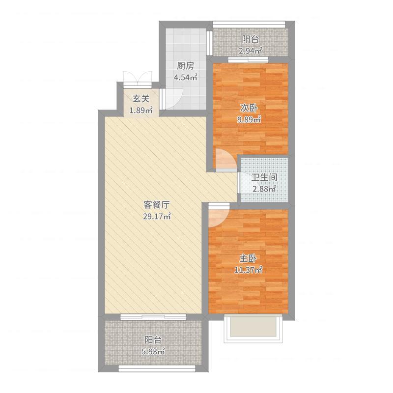 润德天悦城90.61㎡B-12#标准层4B户型2室2厅1卫1厨户型图