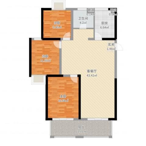 盛和花半里3室2厅1卫1厨129.00㎡户型图