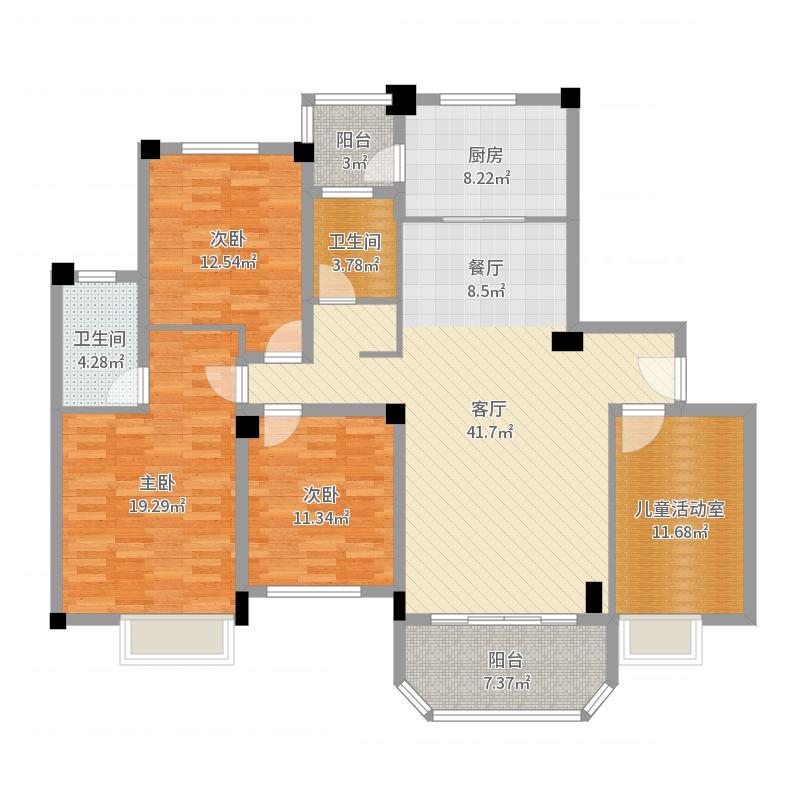 碧桂园天玺湾139.22㎡J622A户型4室2厅2卫-副本户型图