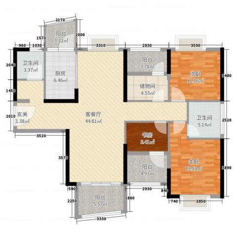 雅居乐花园3室2厅2卫1厨140.00㎡户型图