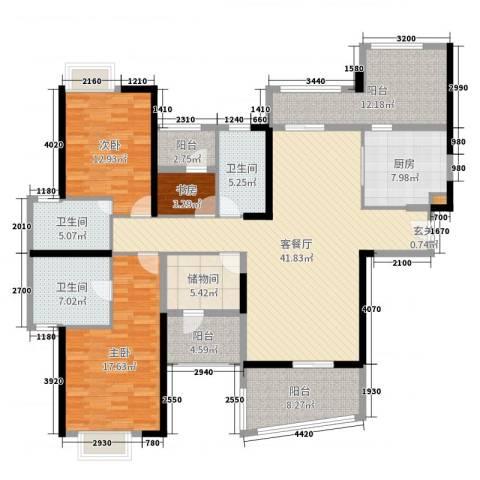 雅居乐花园3室2厅3卫1厨168.00㎡户型图