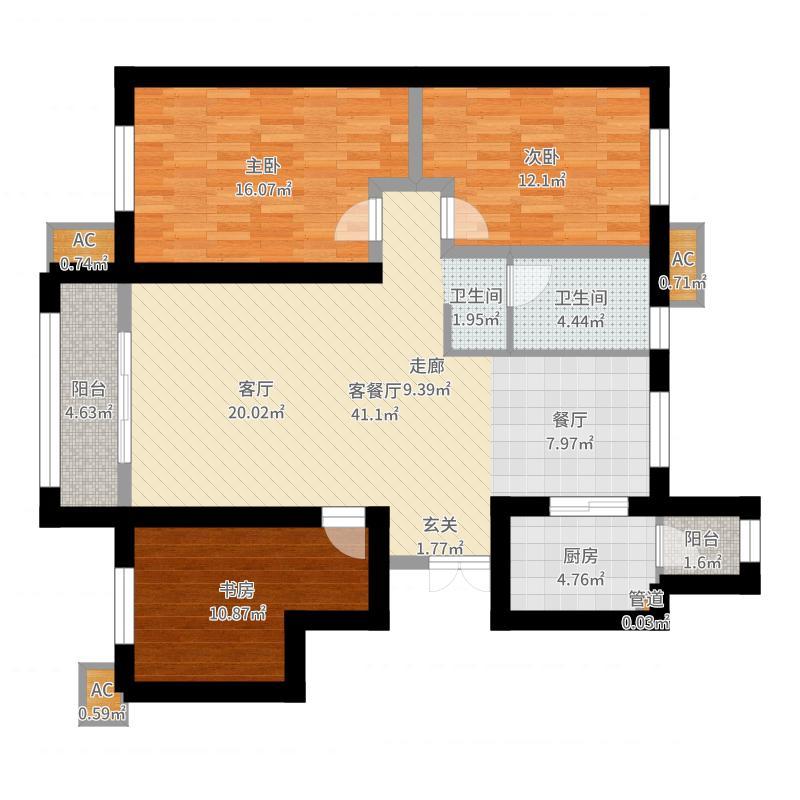 华城馨苑138.00㎡高层标准层G户型-副本户型图