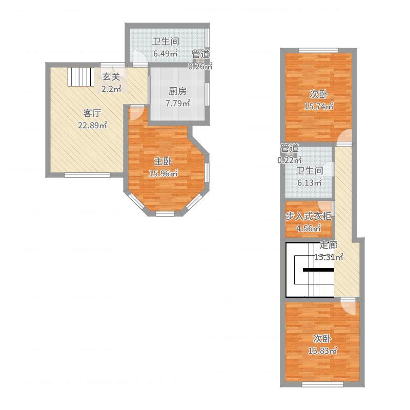 御品天下145.00㎡H户型3室2厅2卫1厨户型图