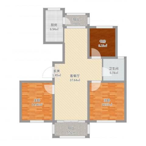 香格里拉花园3室2厅1卫1厨124.00㎡户型图