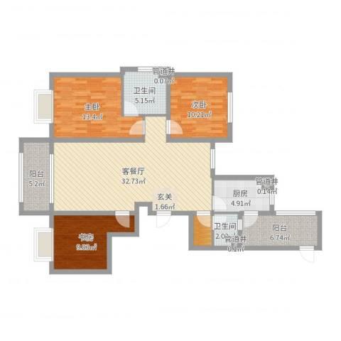 万都城3室2厅2卫1厨115.00㎡户型图
