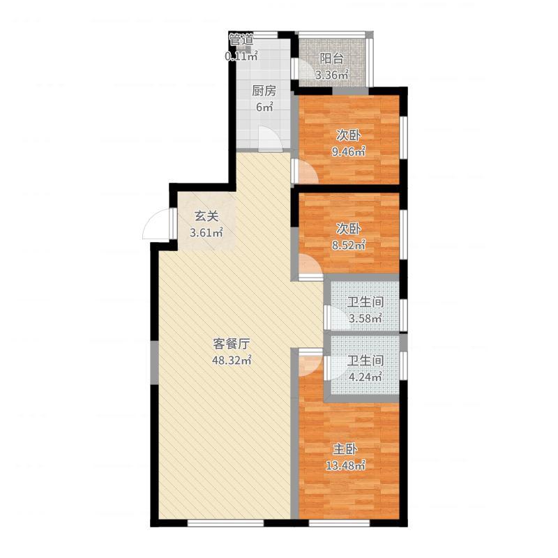 华润悦府17.71㎡C户型3室2厅2卫1厨-副本户型图
