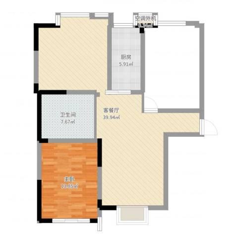 隆昊昊博园1室2厅1卫1厨85.00㎡户型图